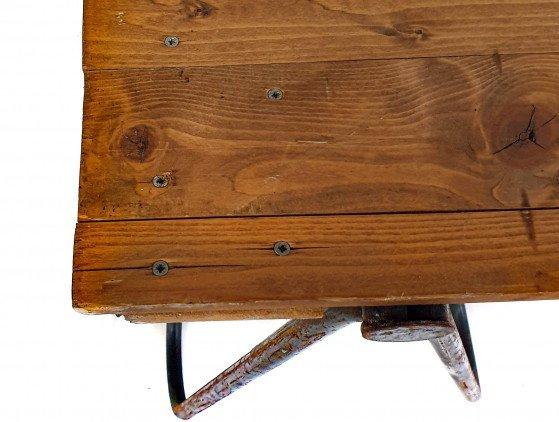 Industriële houten tafel met schragen 210 x 100cm