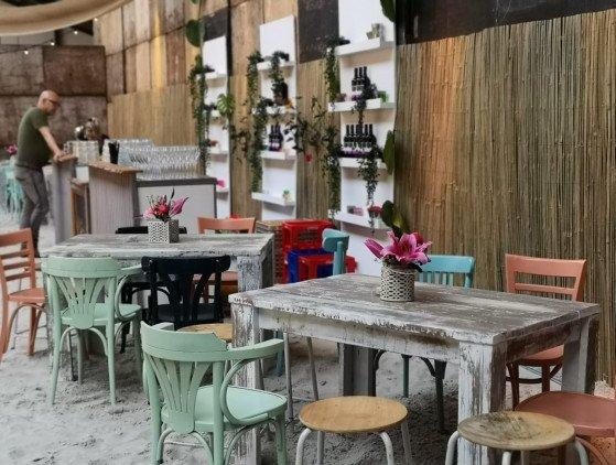 Steigerhouten tafel (White Wash) meubilair