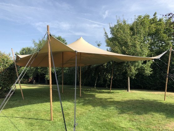 Stretchtent 10 x 6.5 meter, zandkleurig tent