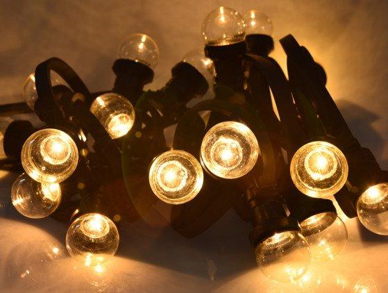 LED Prikkabel 25 meter met 25 lampen, warm licht. 1 watt